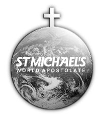 Globe with cross on top and with St Michael's World Apostolate written on globe